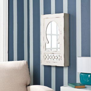 Gilmore Antique White Wall Mount Jewelry Mirror