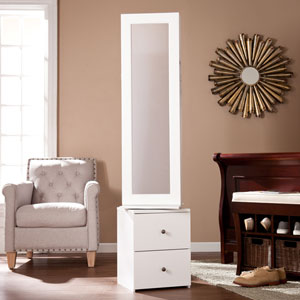 Darby Swivel Jewelry Storage - White