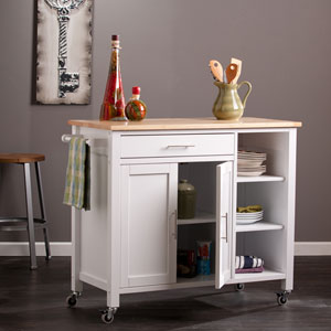 Martinville White Kitchen Cart