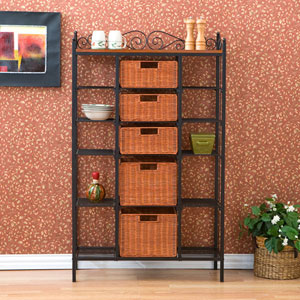 Manilla 5-Drawer Bakers Rack - Black w/ Brown