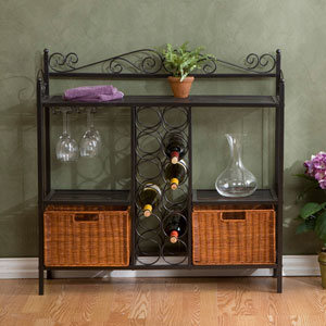 Celtic Grey Bakers Rack with Wine Storage