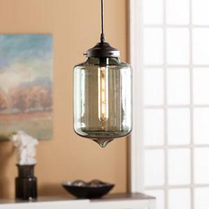 Sandia Colored Glass Pendant Lamp - Smoky Green