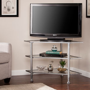Jaymes Distressed Silver Metal and Glass Corner TV Stand