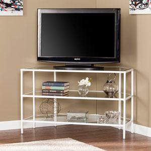 Kendrick Metal and Glass Corner-Optional TV Stand- White