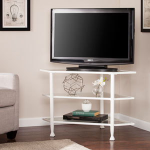Jaymes White Metal and Glass Corner TV Stand