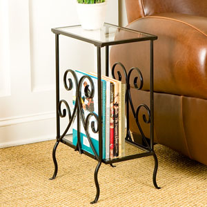 Black Decorative Metal Magazine Table