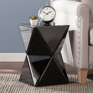 Justine Black Mirrored Accent Table