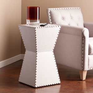 Warrington White Faux Leather Accent Table