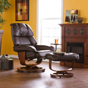 Brown Bonded Leather Recliner and Ottoman
