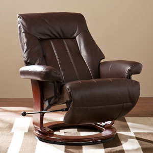 Kona Brown Norland Recliner with Hidden Ottoman