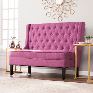 Linklea High-Back Tufted Settee Bench - Fuchsia