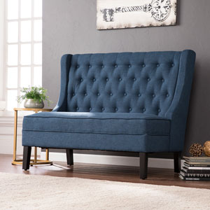 Linklea High-Back Tufted Settee Bench - Navy