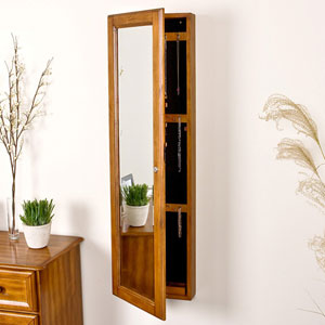 Oak Wall Mount Jewelry Mirror