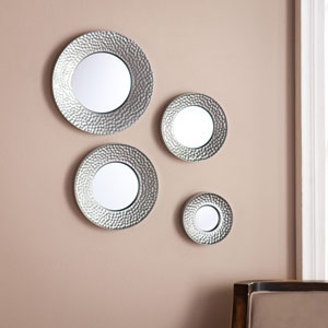 Silver Sphere Wall Mirror 4pc Set- Hammered Silver