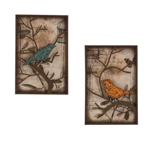 Bird Wall Orange and Blue Panel, Set of 2