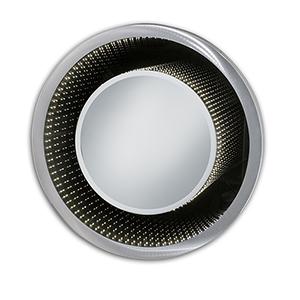 Vanishing Silver LED Round Mirror