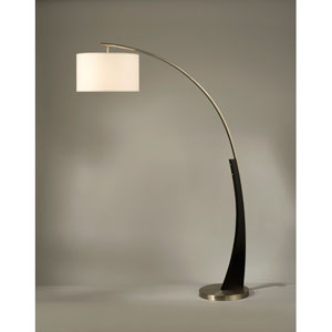 Plimpton Dark Brown and Brushed Nickel One-Light Arc Lamp with White Linen Shade