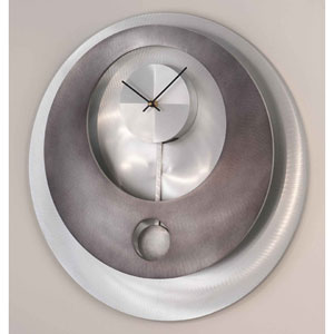 Vendome Gunmetal and Brushed Aluminum Pendulum 22-Inch Wall Clock