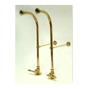 Essentials Polished Brass Freestanding Water Supplies with Stop and Wall Supports
