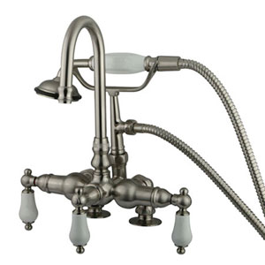 Hot Springs Satin Nickel Deck Mount Clawfoot Tub Filler with Hand Shower