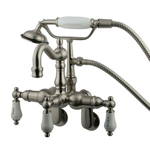 Hot Springs Satin Nickel Wall Mount Clawfoot Tub Filler with Hand Shower