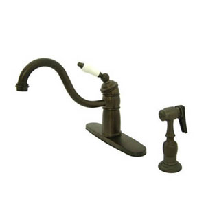 New Orleans Oil Rubbed Bronze Deck Mount Kitchen Faucet with Plastic Sprayer and Porcelain Lever