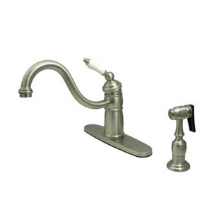Satin Nickel Mono Deck Mount Kitchen Faucet with Brass Sprayer and Porcelain Lever