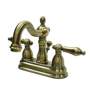 Vintage Brass 4-Inch Centerset Lavatory Faucet with Metal Lever