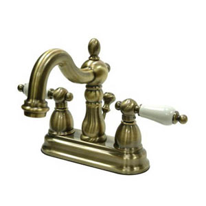 Vintage Brass 4-Inch Centerset Lavatory Faucet with Porcelain Lever Handle