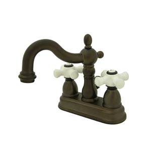 New Orleans Oil Rubbed Bronze Bathroom Faucet with Porcelain Crosses