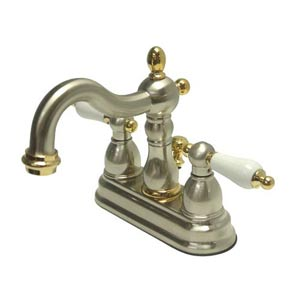 New Orleans Nickel and Brass Bathroom Faucet with Porcelain Handles
