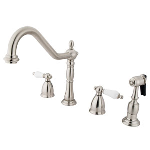 New Orleans Satin Nickel 8-Inch Porcelain Lever Handle Adjustable Spread Kitchen Faucet with Brass Sprayer