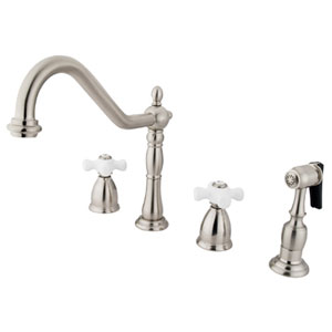 New Orleans Satin Nickel 8-Inch Porcelain Cross Handle Adjustable Spread Kitchen Faucet with Brass Sprayer