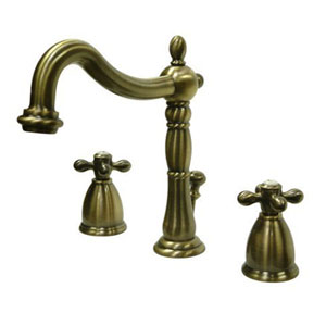 Vintage Brass Metal Cross Handle Widespread Lavatory Faucet
