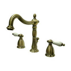 Vintage Brass Porcelain Lever Handle Widespread Lavatory Faucet