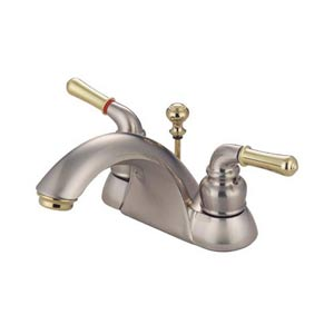 St. Charles Satin Nickel and Polished Brass Centerset Bathroom Faucet