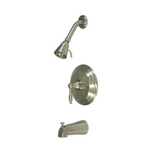 Satin Nickel Knight Lever Handle Tub & Shower Faucet Set
