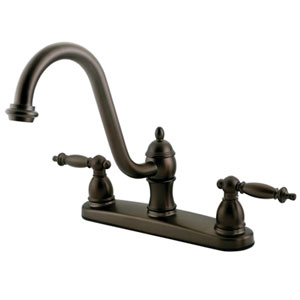 Charlevoix Oil Rubbed Bronze Double Handle 8-Inch Centerset Kitchen Faucet without Sprayer