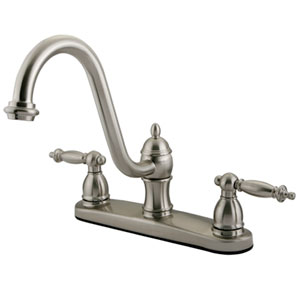 Charlevoix Satin Nickel Double Handle 8-Inch Centerset Kitchen Faucet without Sprayer