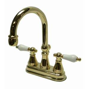 Chicago Polished Brass Deck Mount Faucet with Porcelain Handles