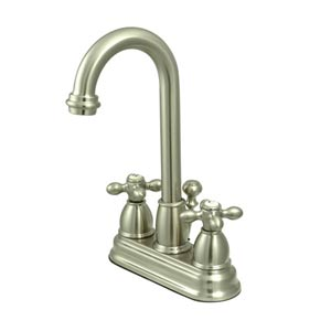 Chicago Satin Nickel Deck Mount Faucet with Metal Crosses