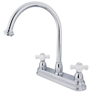Chrome 8-Inch Centerset Porcelain Cross Handle Kitchen Faucet without Sprayer