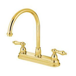 Chicago Polished Brass 8-Inch Center Kitchen Faucet with Metal Lever