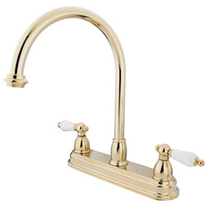 Polished Brass 8-Inch Centerset Porcelain Lever Handle Kitchen Faucet without Sprayer