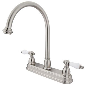 Satin Nickel 8-Inch Centerset Porcelain Lever Handle Kitchen Faucet without Sprayer