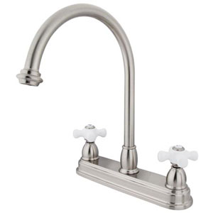 Satin Nickel 8-Inch Centerset Porcelain Cross Handle Kitchen Faucet without Sprayer