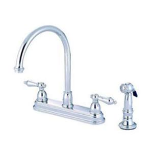 Chicago Chrome Deck Mount 8-Inch Center Kitchen Faucet with Metal Lever