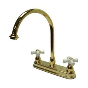 Chicago Polished Brass Deck Mount 8-Inch Center Kitchen Faucet with Porcelain Cross