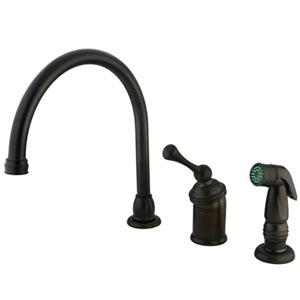 Salena Oil Rubbed Bronze Single Handle Kitchen Faucet with Chrome Sprayer