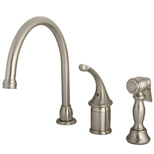 St. George Satin Nickel Single Handle Kitchen Faucet with Brass Sprayer